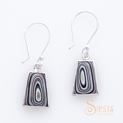 Sterling Silver Fordite Earrings on Hook