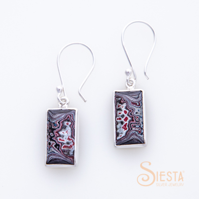 Sterling Silver Fordite Hook Earrings
