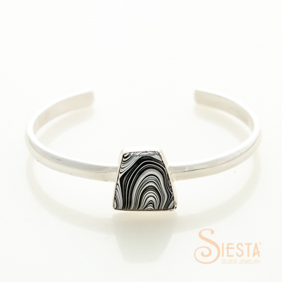 Sterling Silver Simply Smooth Fordite Bangle