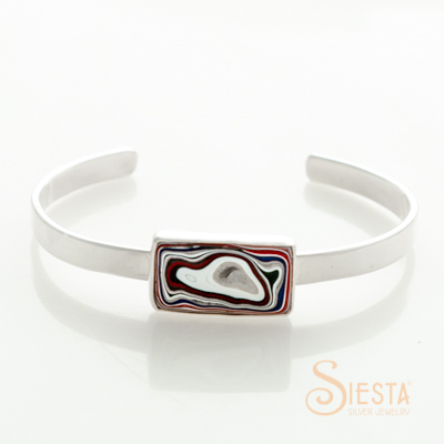 Sterling Silver Hot Rod Fordite Bangle