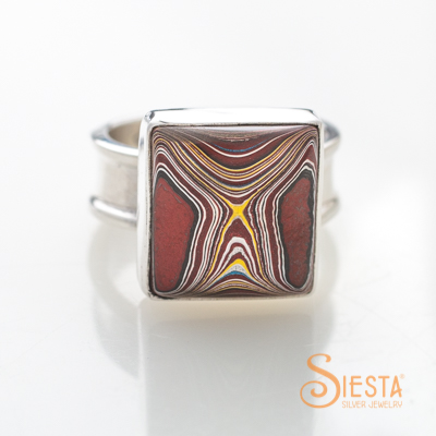 Corvette Paint aka Fordite Ring in Sterling Silver Size 9