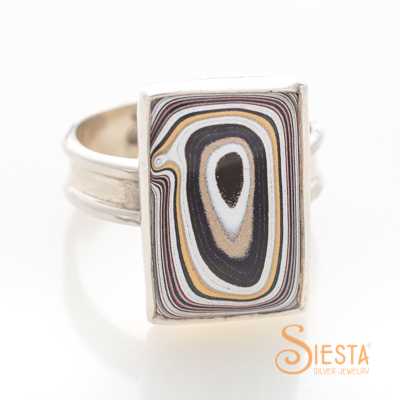 Sterling Silver Fordite Ring