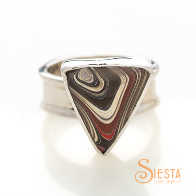Corvette Paint aka Fordite Ring in Sterling Silver