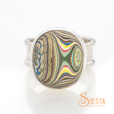 Vintage Fordite Ring in Sterling Silver