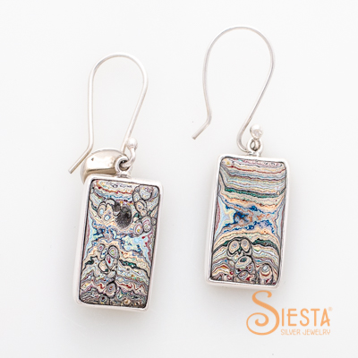 Sterling Silver Vintage Fordite Earrings on Hook