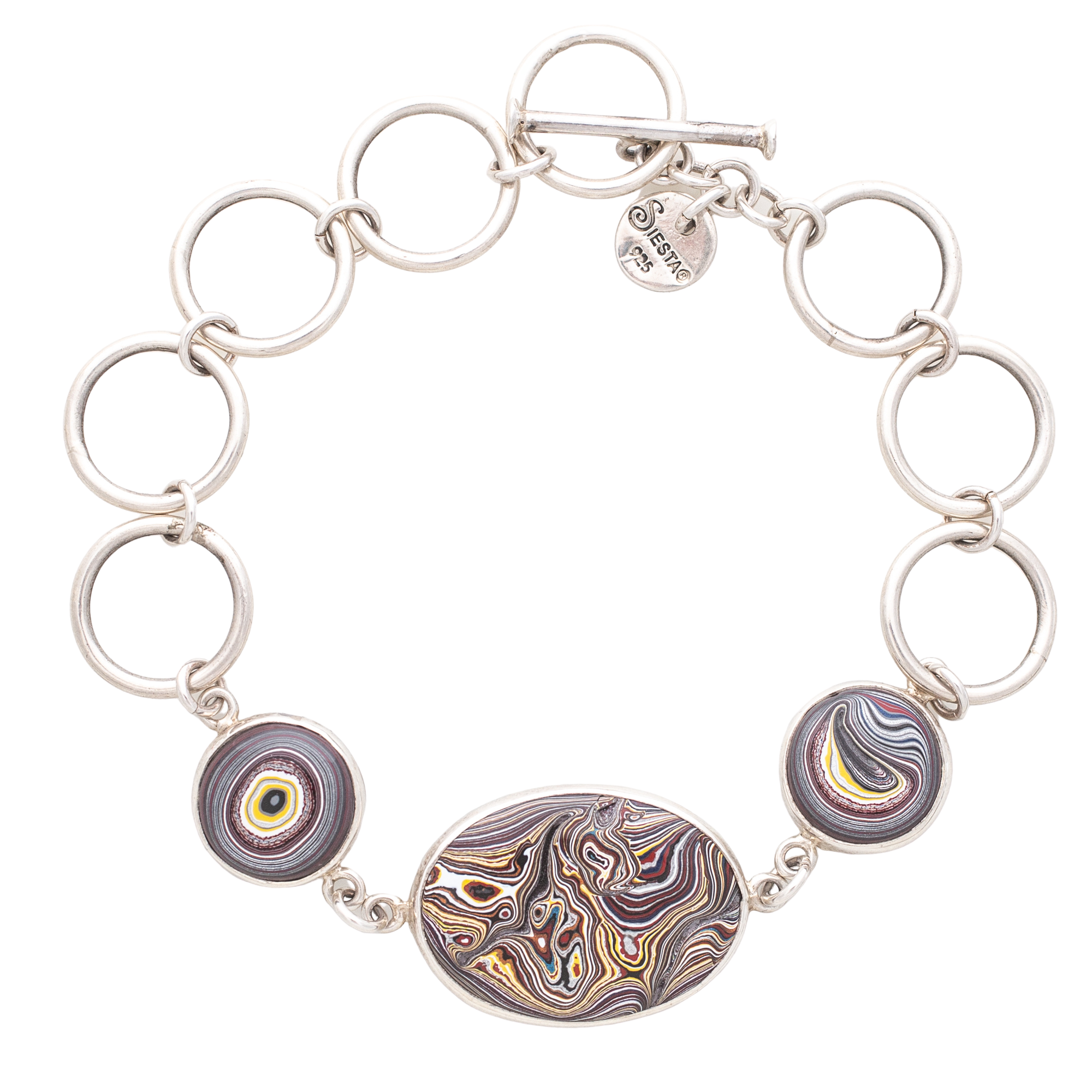 Fordite Corvette Paint Bracelet in Sterling Silver