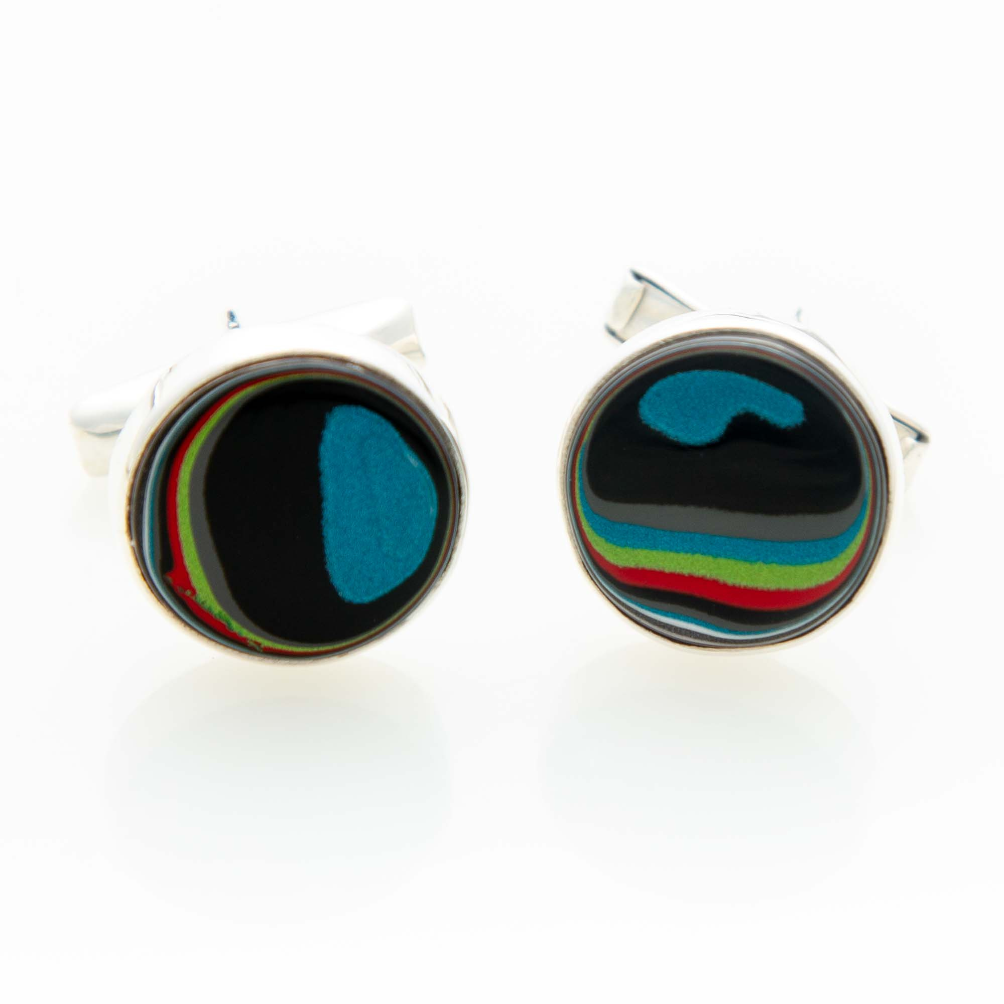 Fordite Jeep Paint Cuff Links in Sterling Silver