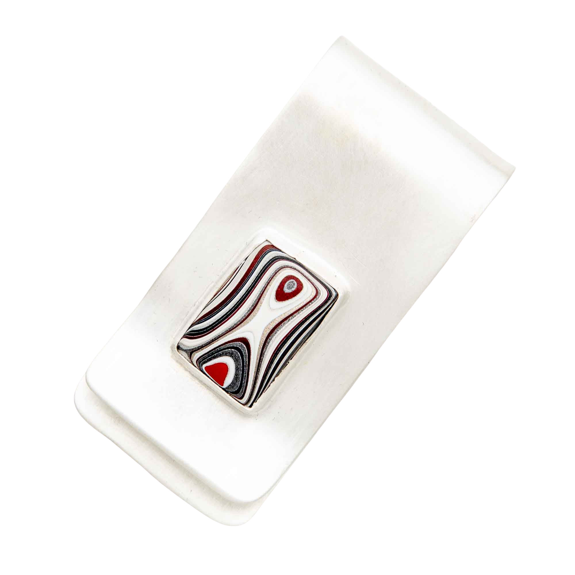Fordite Money Clip in Sterling Silver