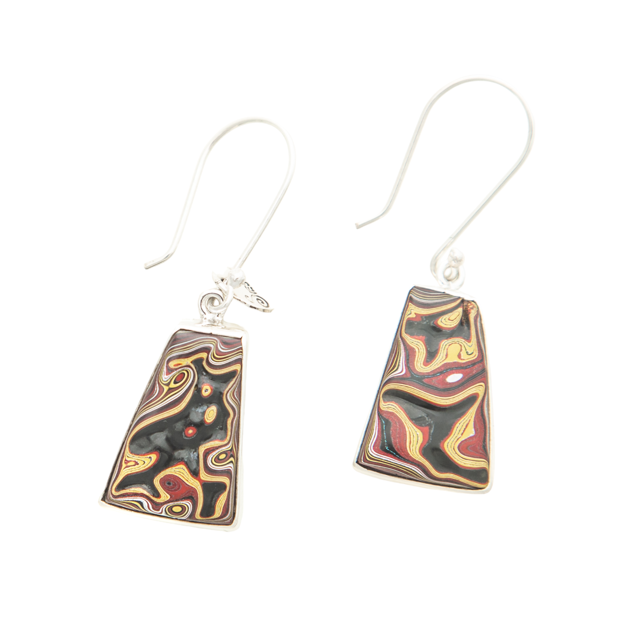 Fordite Corvette Paint Hook Earrings in Sterling Silver