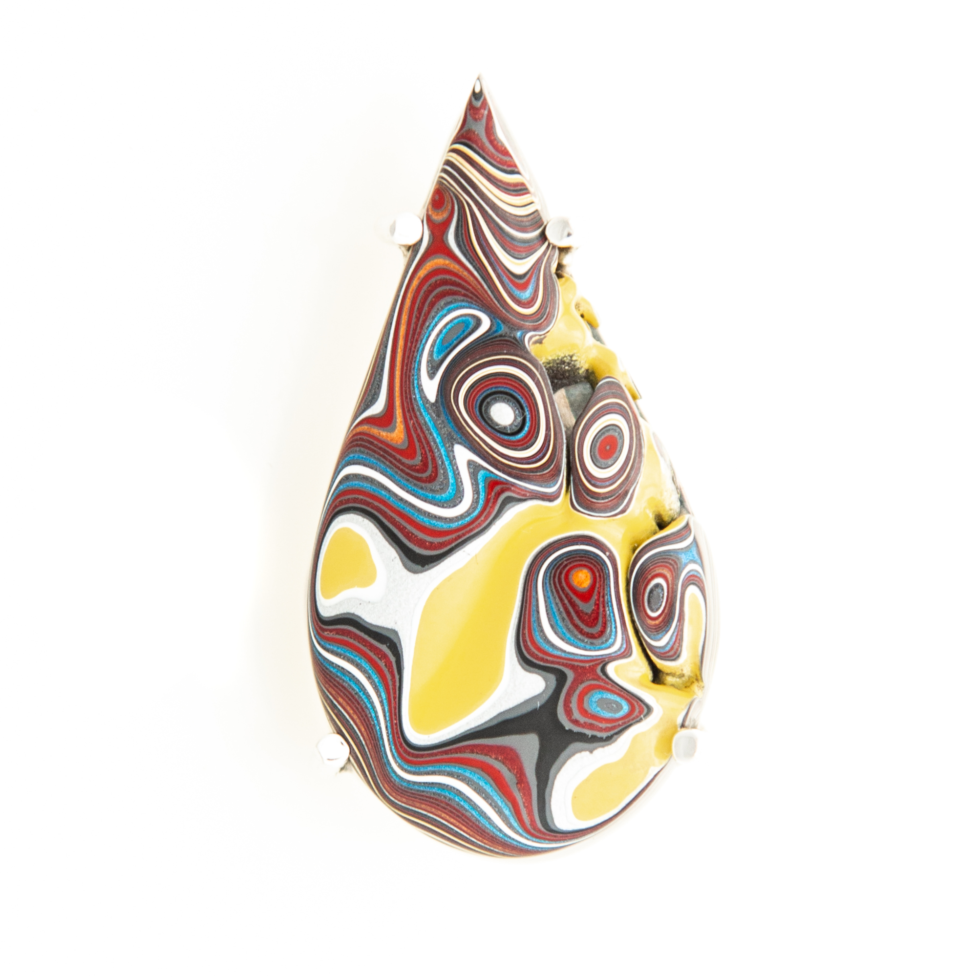 Fordite Corvette Paint Pin and Pendant Yellow in Sterling Silver