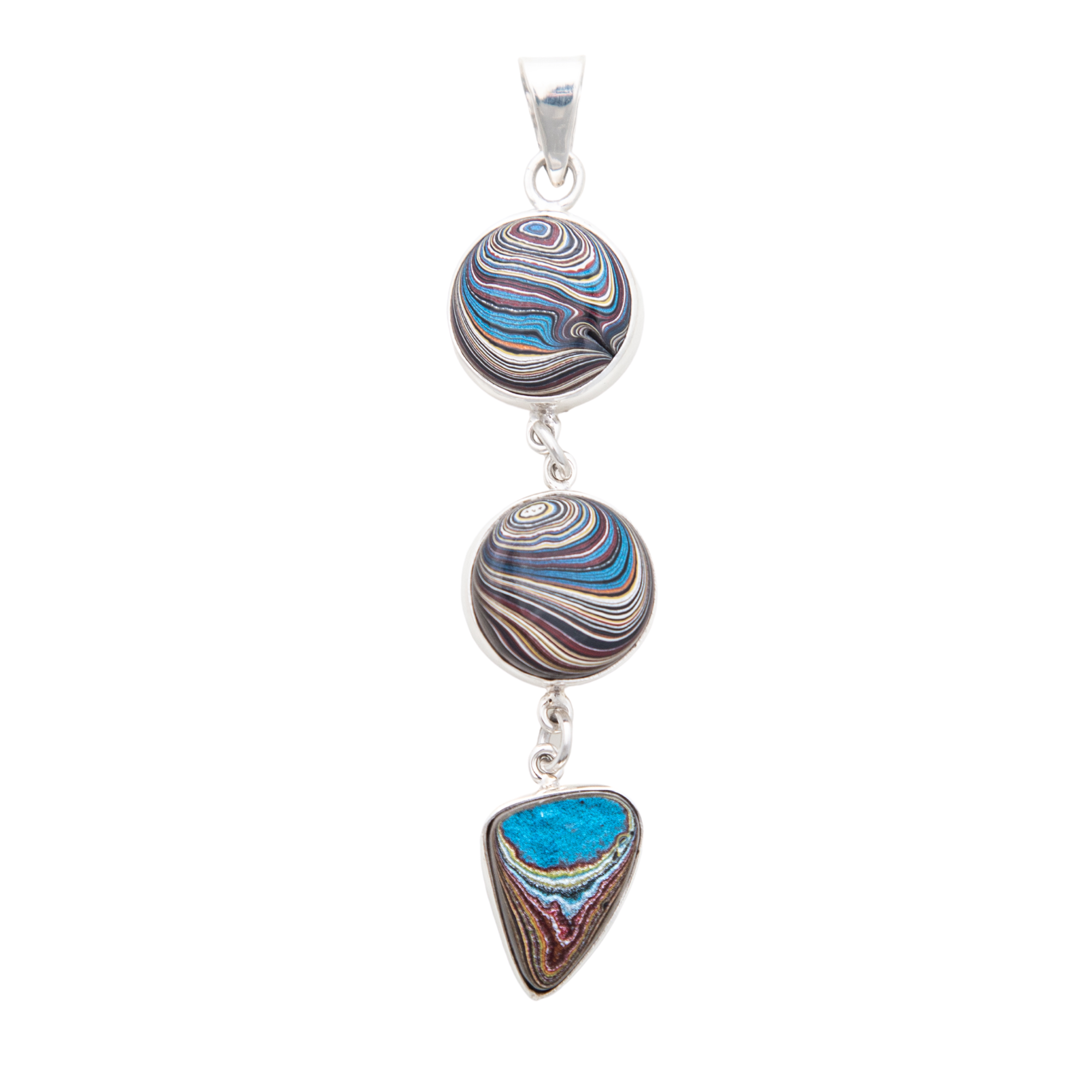 Fordite Corvette Paint Triple Pendant in Sterling Silver
