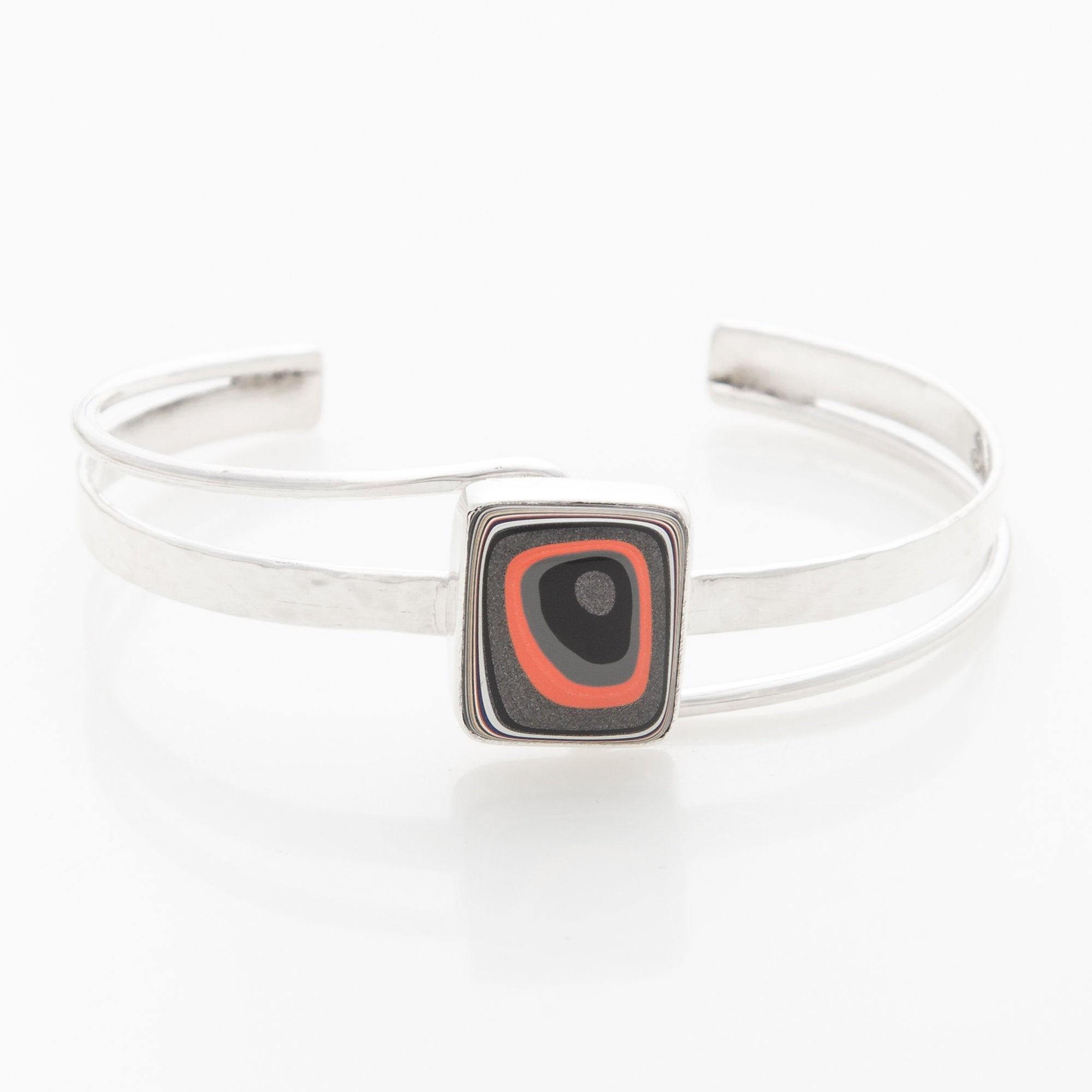 Fordite Jeep Paint Classy Curves Bangle in Sterling Silver
