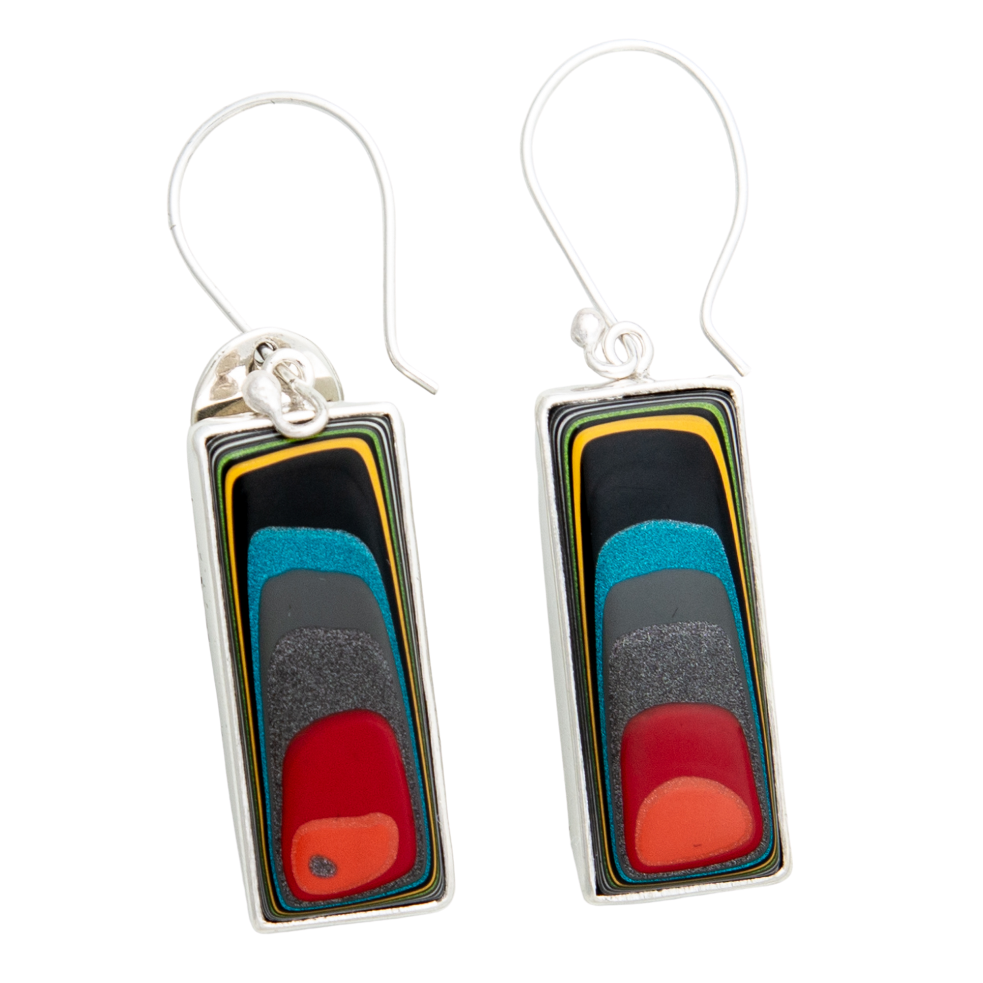 Fordite Jeep Paint Hook Earrings in Sterling Silver