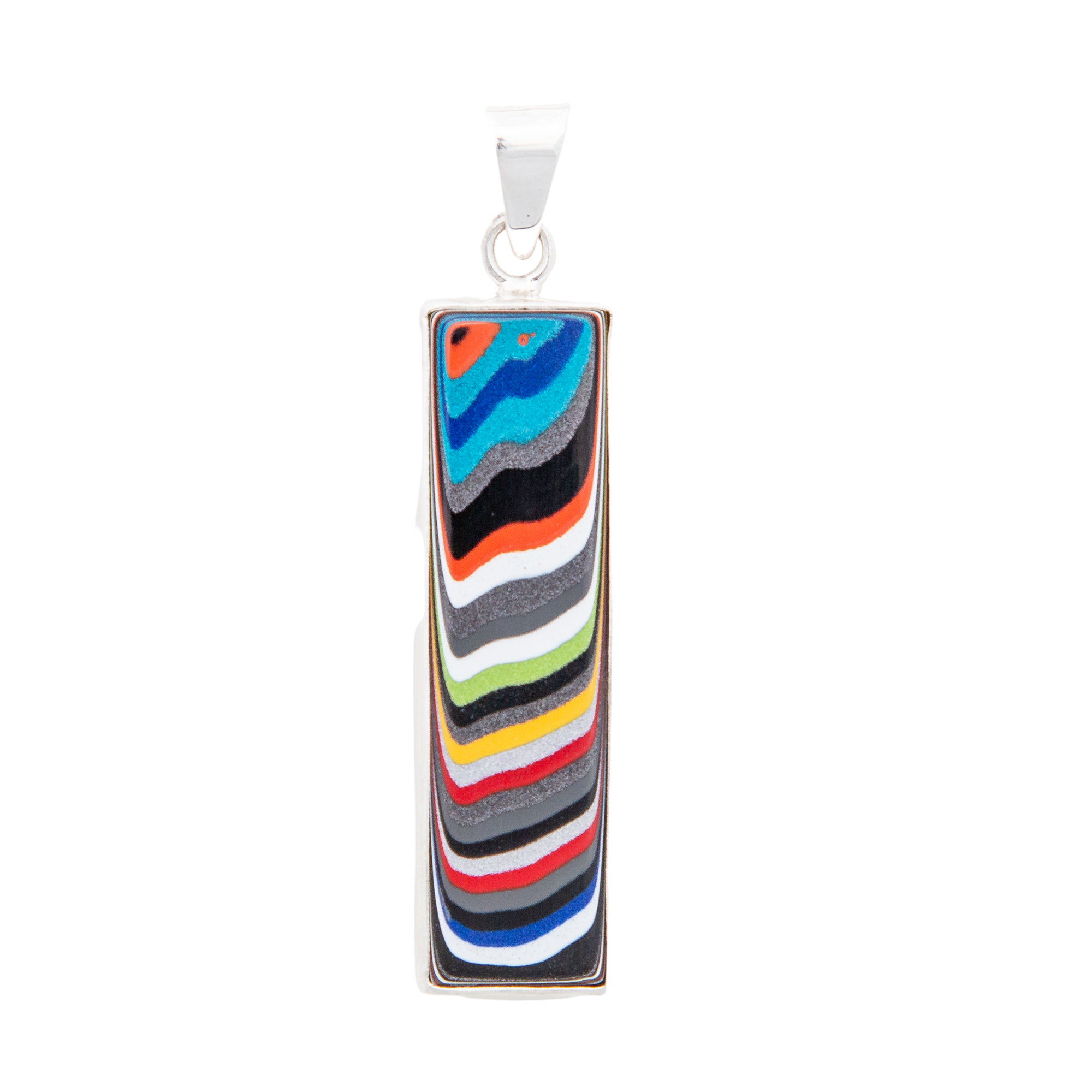 Fordite Jeep Paint Pendant in Sterling Silver