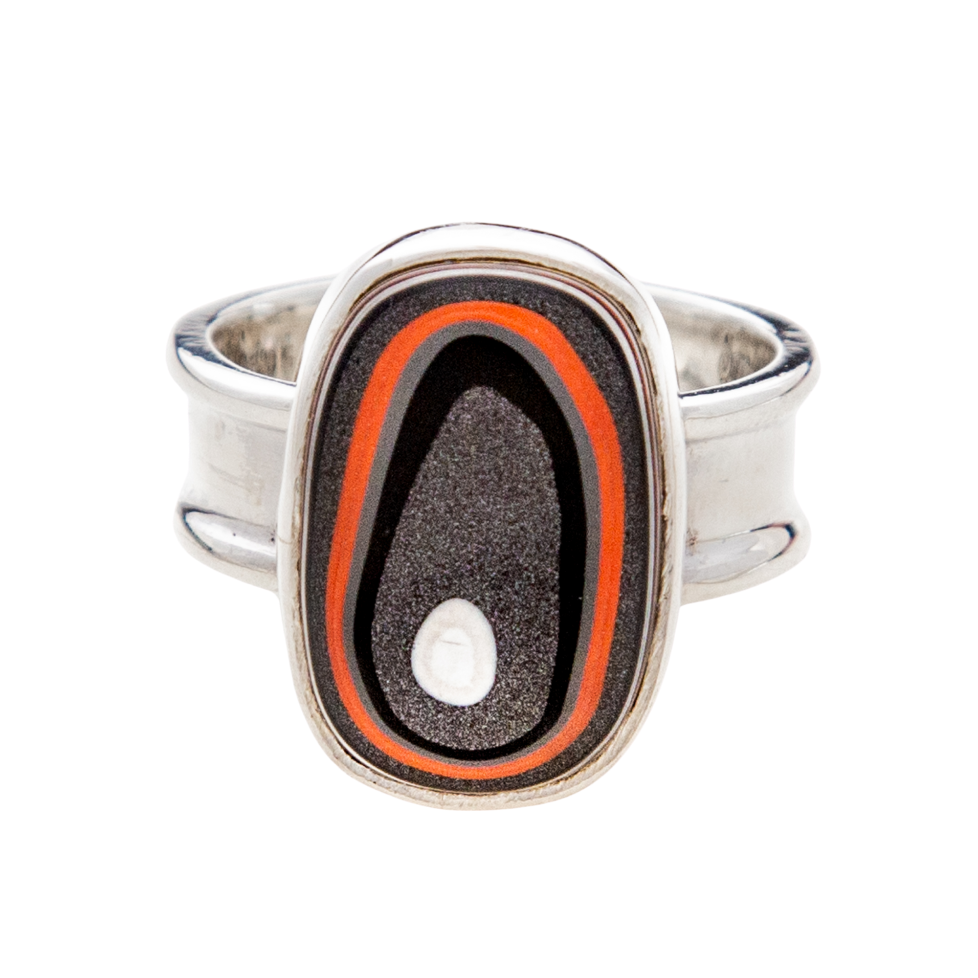 Fordite Jeep Paint Ring in Sterling Silver