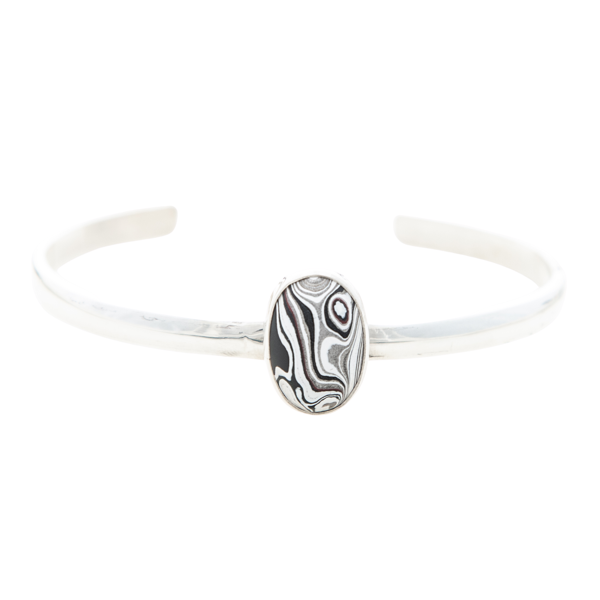 Fordite Pin Stripe Bangle in Sterling Silver