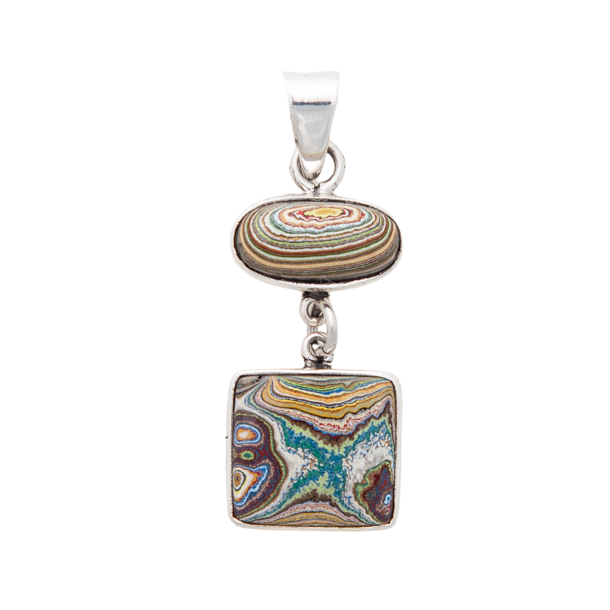 Fordite Vintage Rouge Plant Double Pendant in Sterling Silver