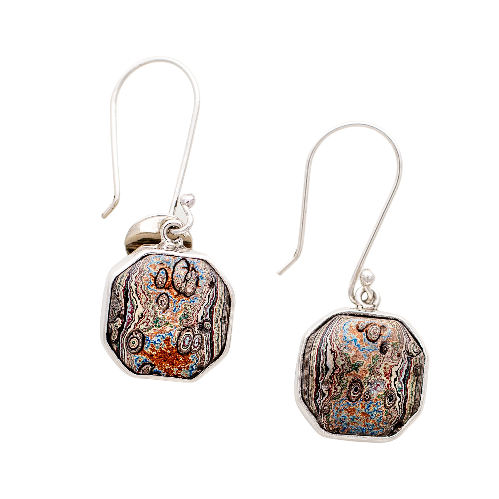 Fordite Vintage Rouge Plant Hook Earrings in Sterling Silver