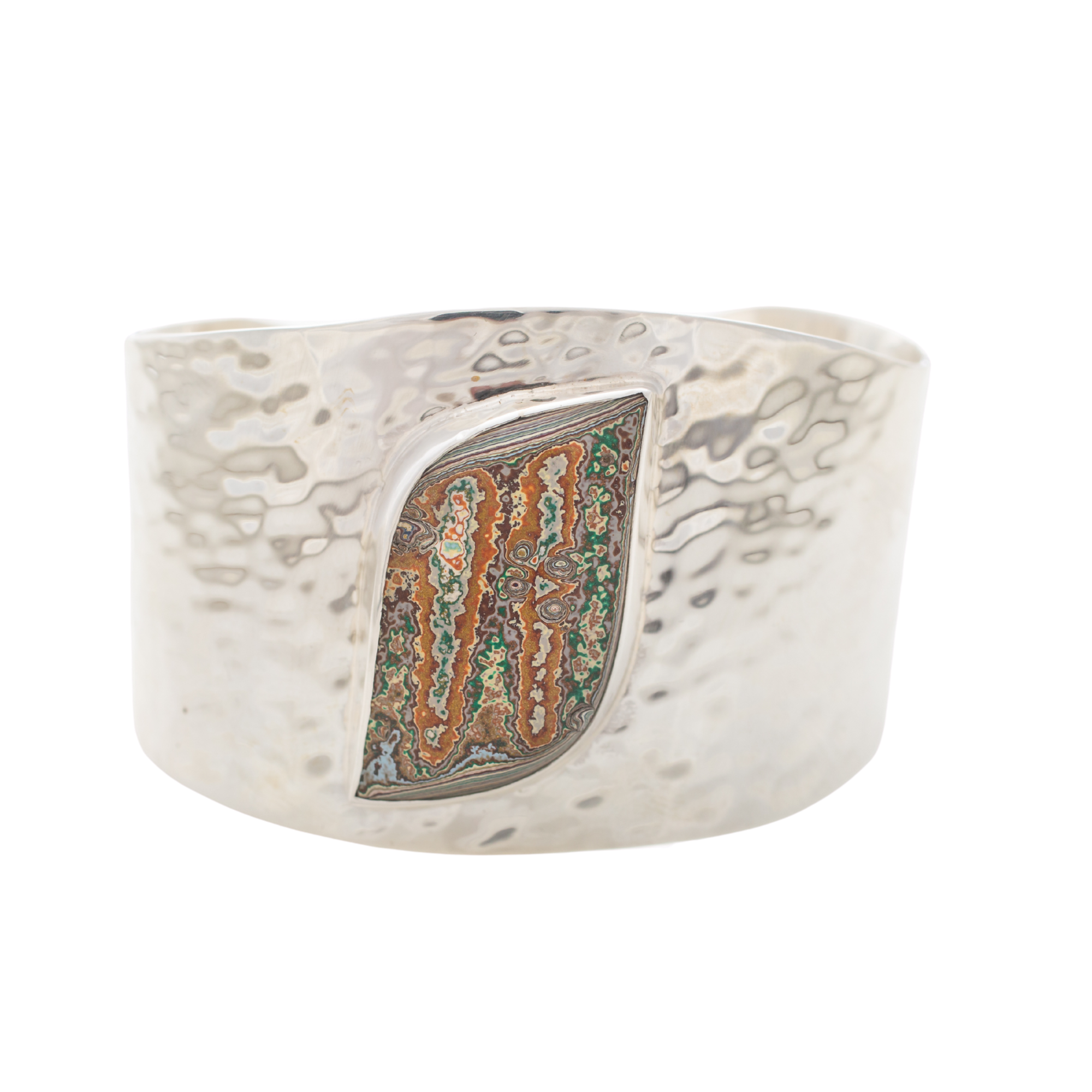 Fordite Vintage Rouge Plant Luxury Hammered Bangle