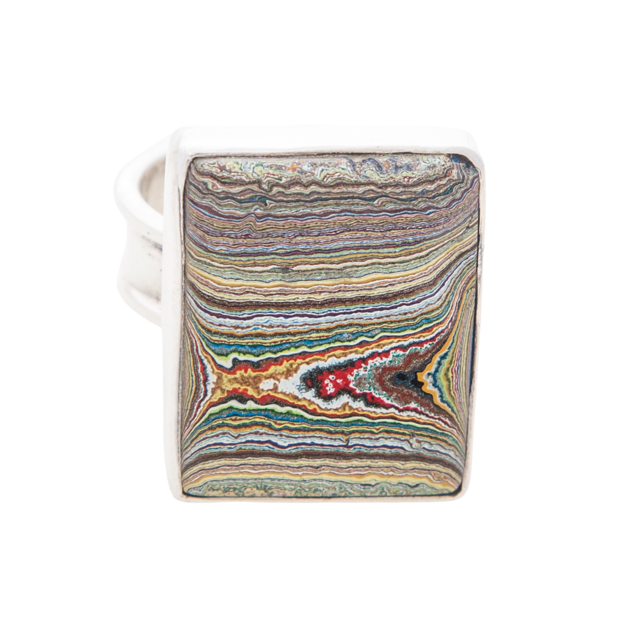 Fordite Vintage Rouge Plant Ring in Sterling Silver
