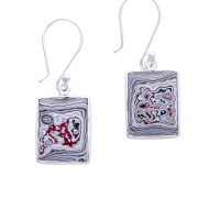 Fordite and Sterling Silver Earrings